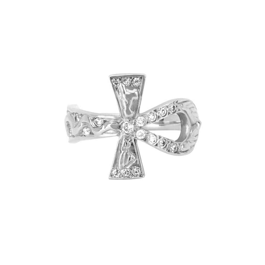 Eternal Ankh Cross Ring with Sprinkled Diamonds White Gold