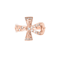 Eternal Ankh Cross Ring with Sprinkled Diamonds Rose Gold