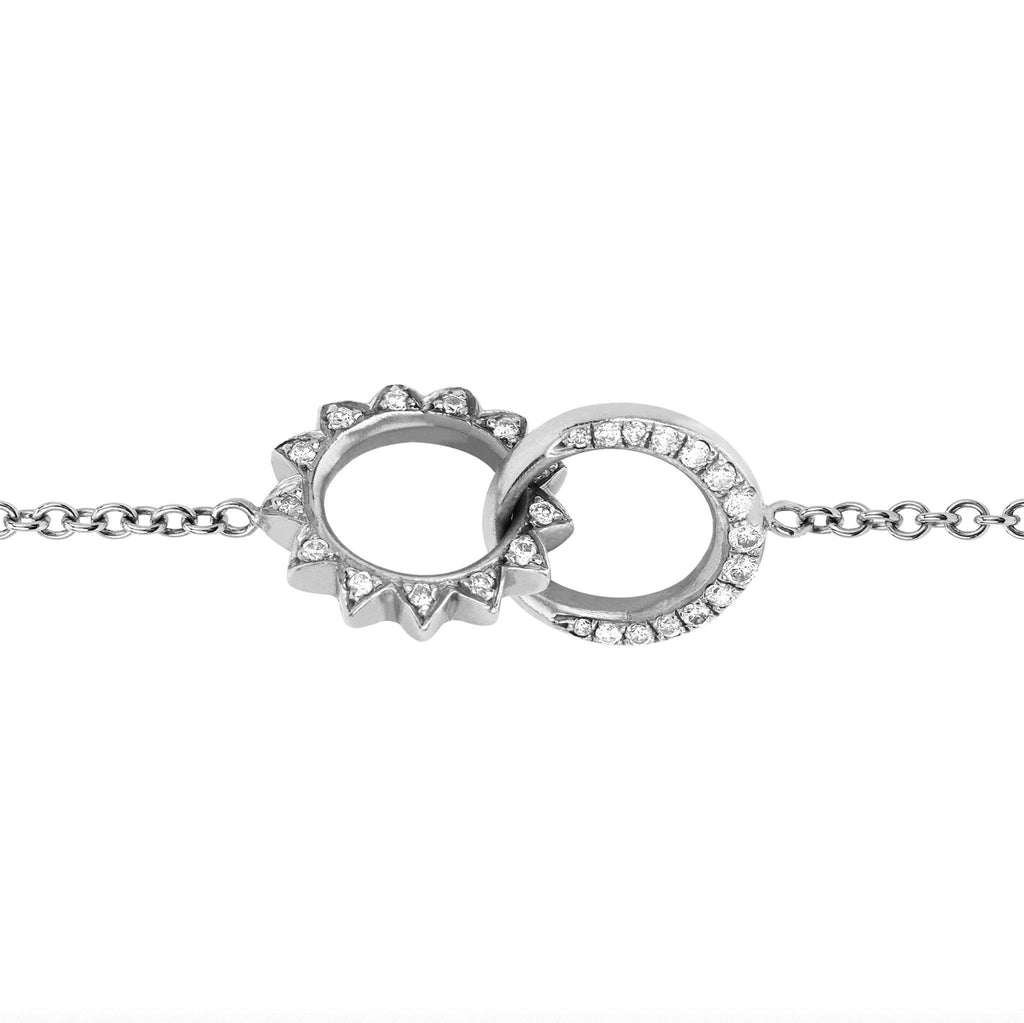Pavé Diamond Interlocking Unity Bracelet White Gold