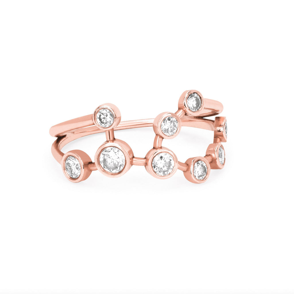 Virgo Diamond Constellation Ring Rose Gold