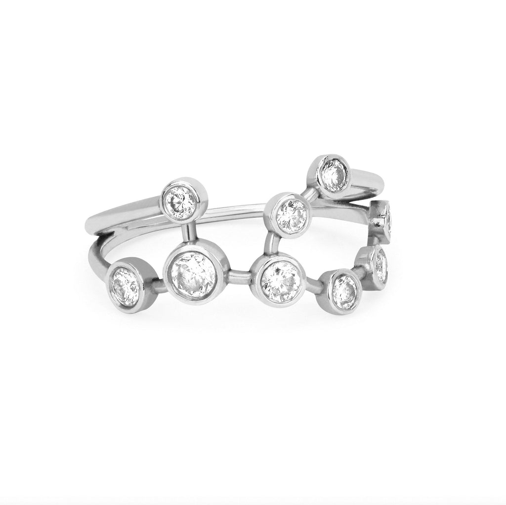 Virgo Diamond Constellation Ring White Gold