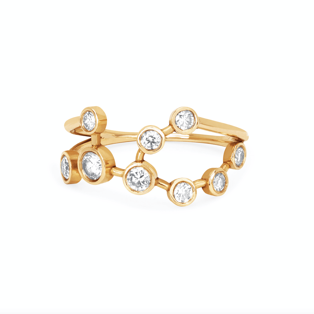 Virgo Diamond Constellation Ring Yellow Gold