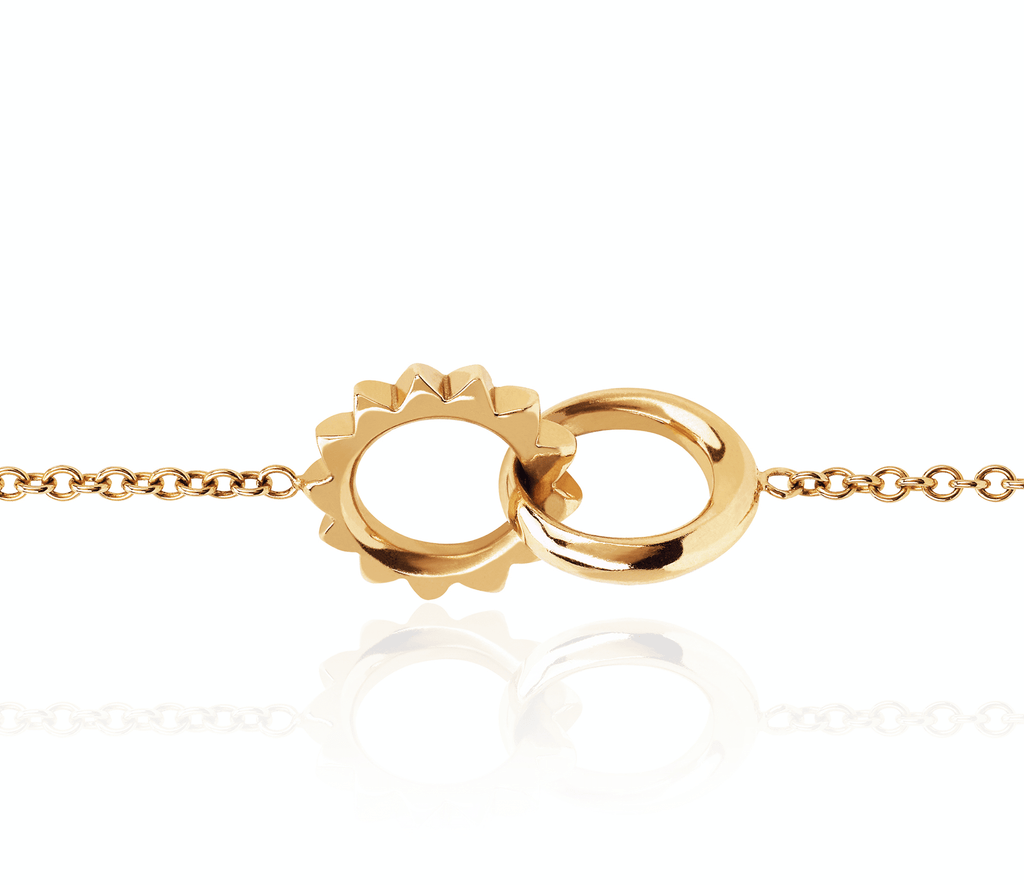 Interlocking Unity Solid Gold Bracelet Yellow Gold