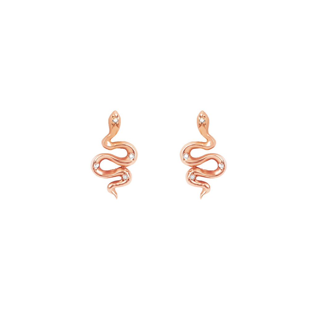 Kundalini Snake Studs with Star Set Diamonds Rose Gold