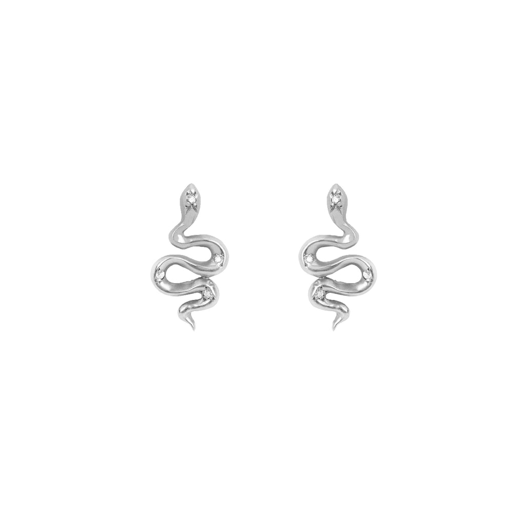 Kundalini Snake Studs with Diamonds White Gold