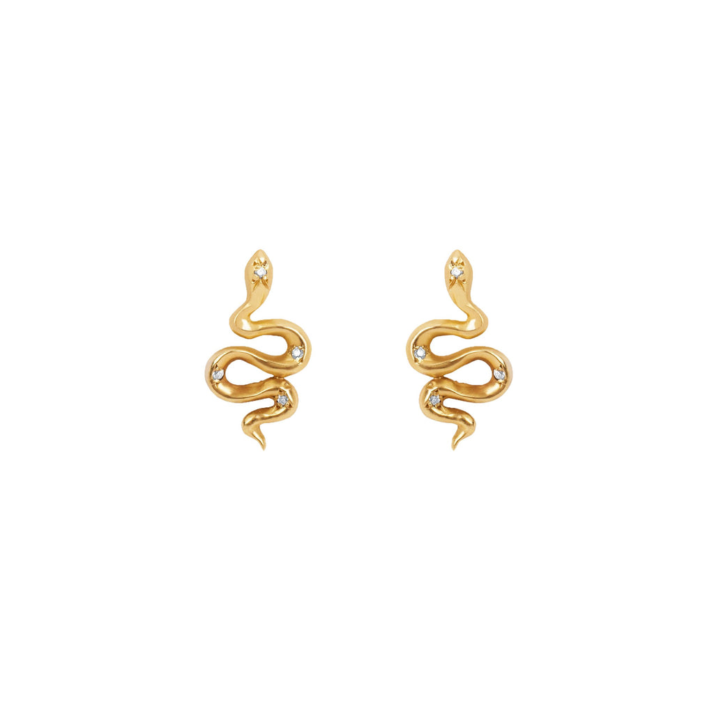 Kundalini Snake Studs with Star Set Diamonds Yellow Gold