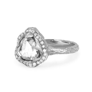 NEW! Queen Rose Cut Diamond Ring with Pavé Halo