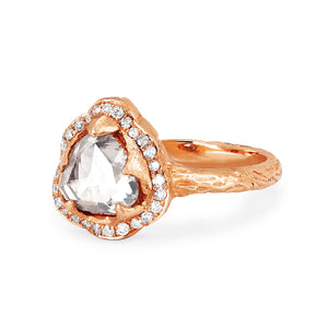 Queen Rose Cut Diamond Ring with Pavé Halo