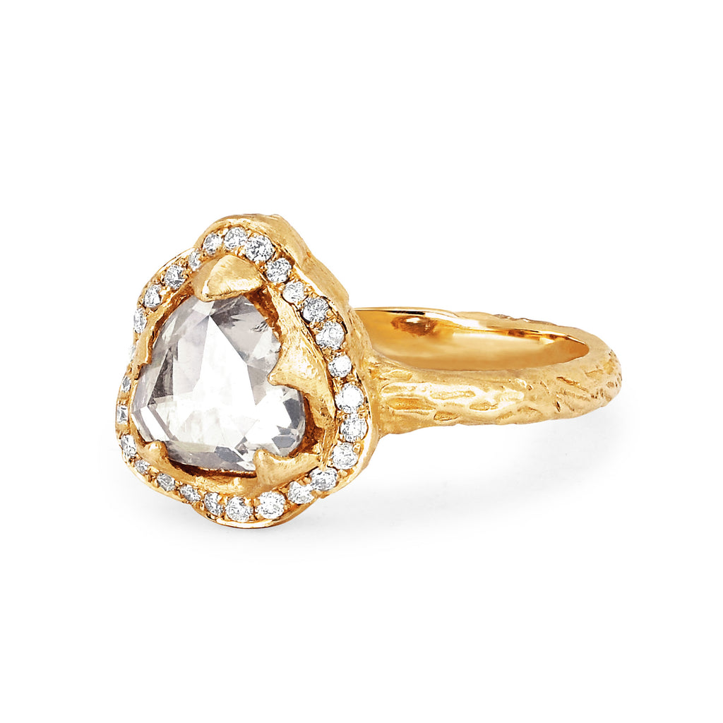 Queen Rose Cut Diamond Ring with Pavé Halo Queen Rose Cut Diamond Ring with Pavé Halo