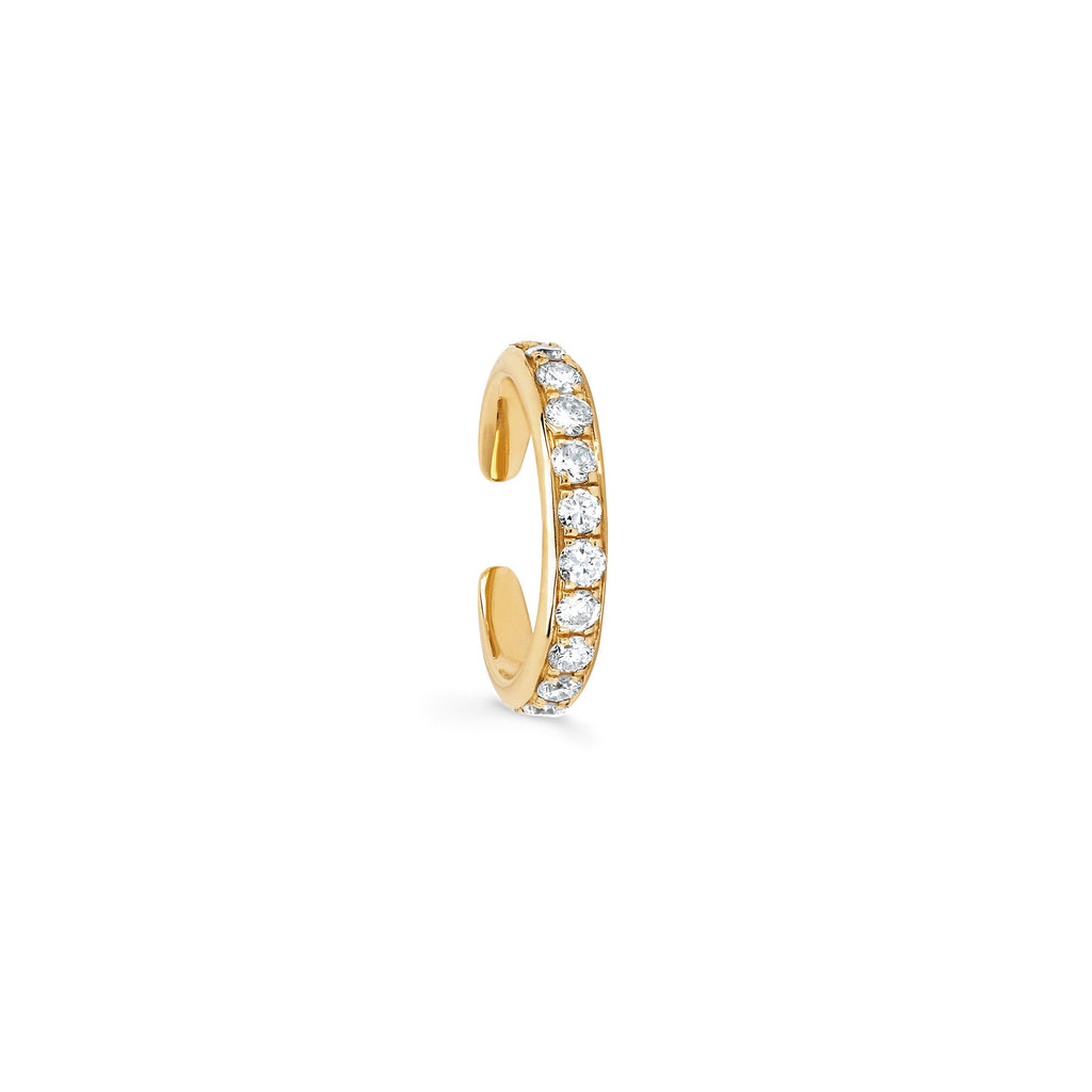 Single Row Diamond Ear Cuff Yellow Gold