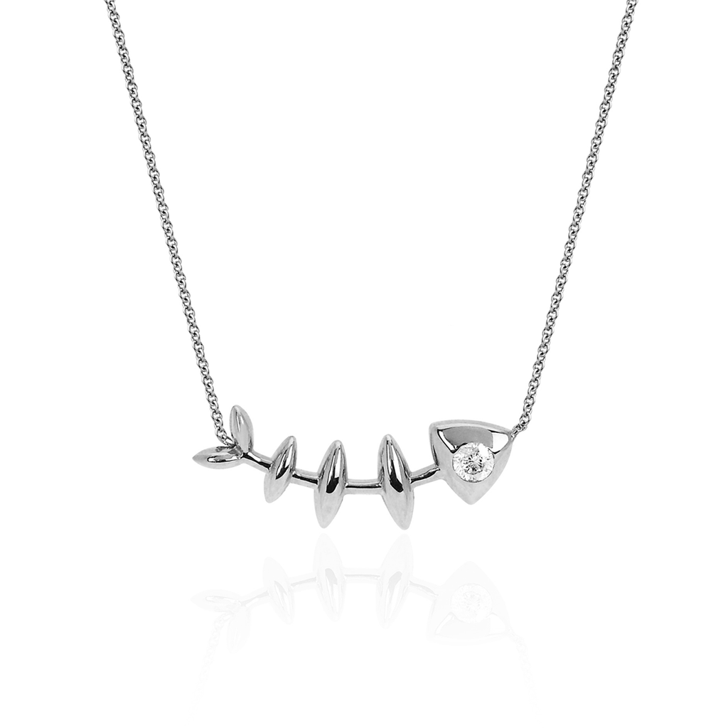 Single Diamond Fishbone Necklace White Gold