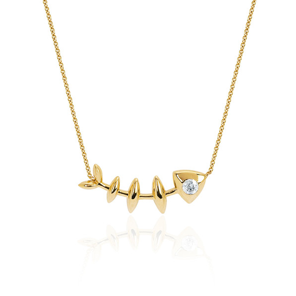 Single Diamond Fishbone Necklace Yellow Gold