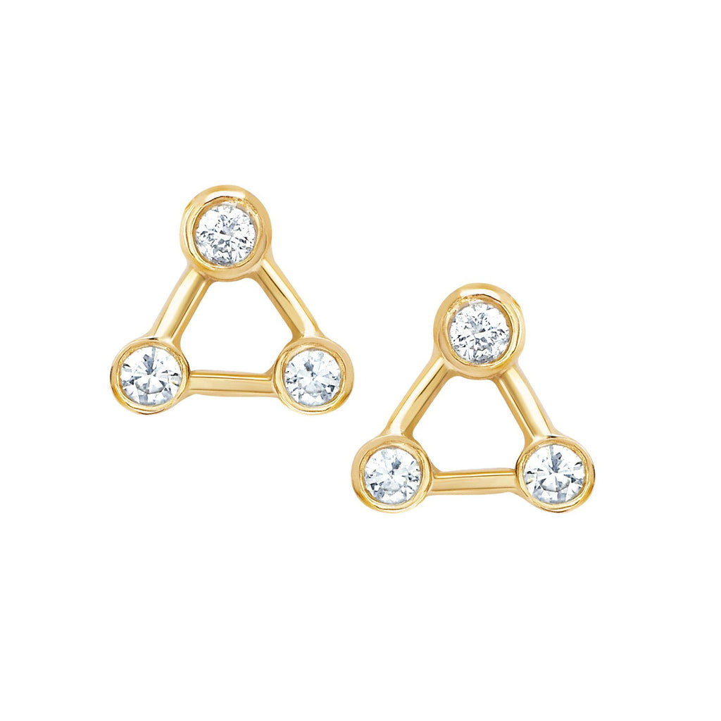 Mini Summer Triangle Diamond Constellation Earrings Yellow Gold