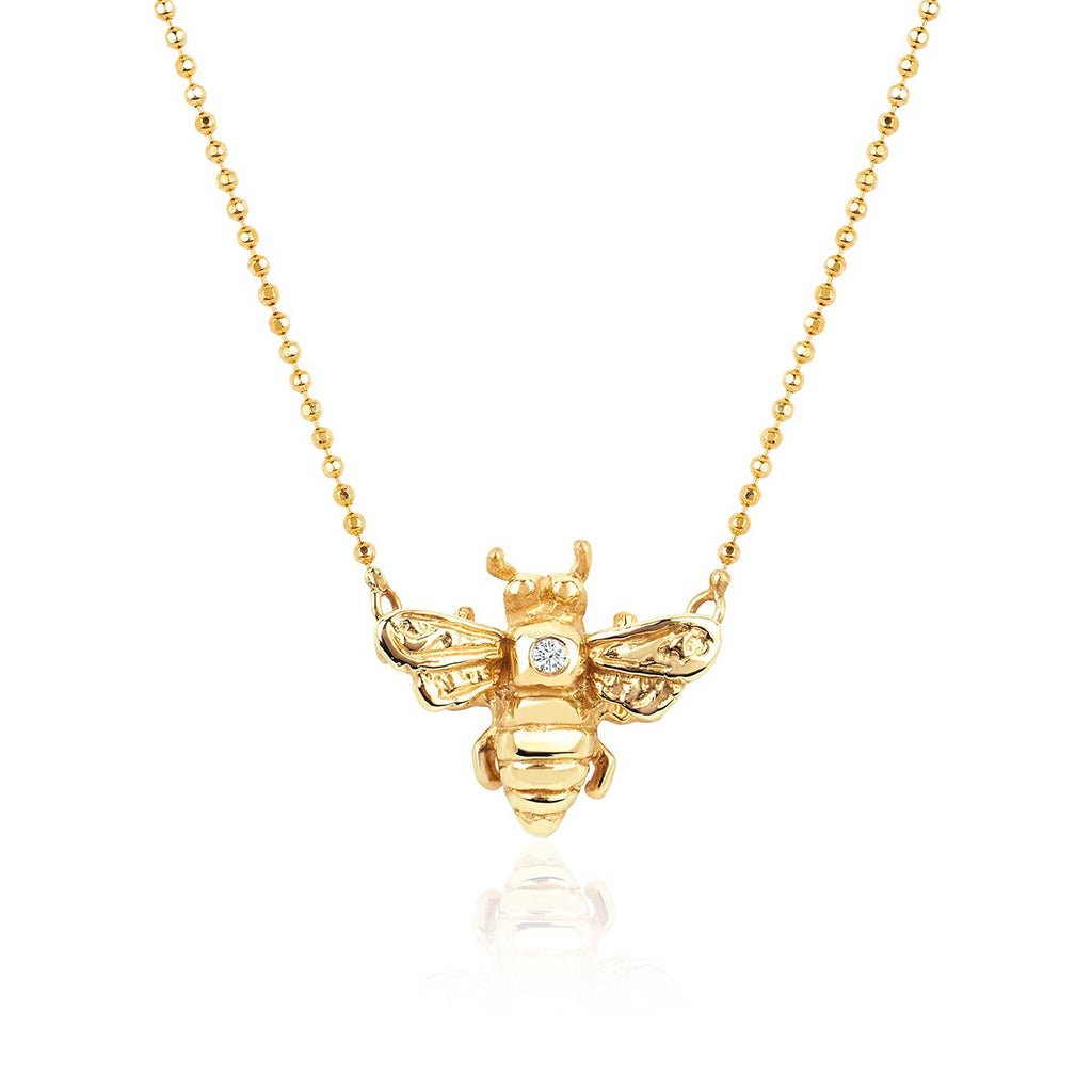 Logan Hollowell x BKN Honey Bee Necklace with Single Diamond Logan Hollowell x BKN Honey Bee Necklace with Single Diamond