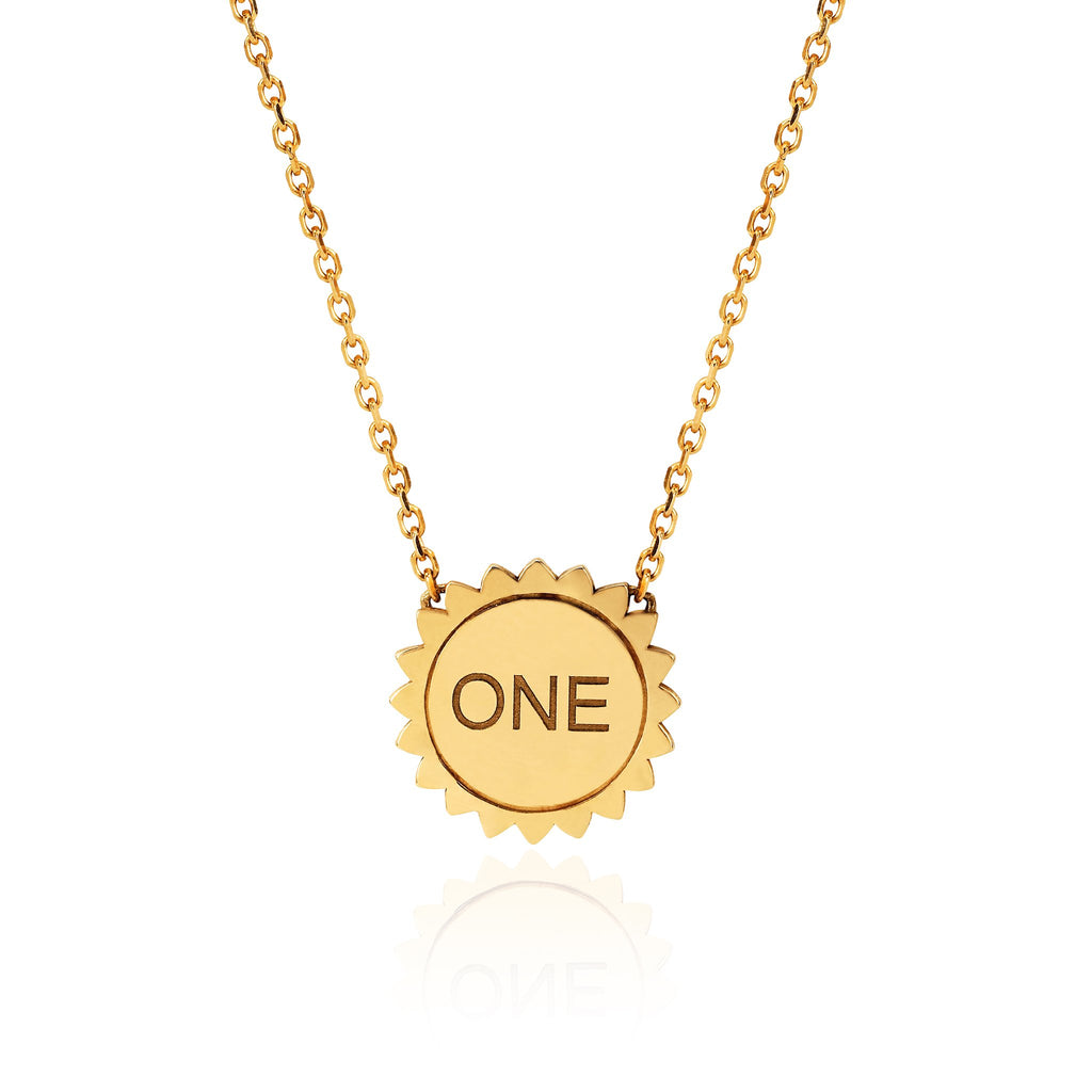 Mini ONE LOVE Sunshine Necklace Yellow Gold