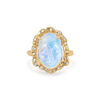NEW! Queen Moonstone Buddha Ring with Sprinkled Diamonds NEW! Queen Moonstone Buddha Ring with Sprinkled Diamonds