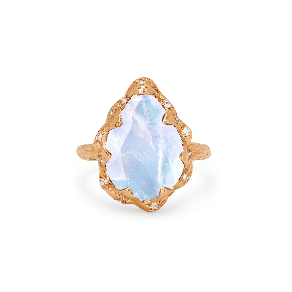 Queen Water Drop Moonstone Ring with Sprinkled Diamonds Rose Gold
