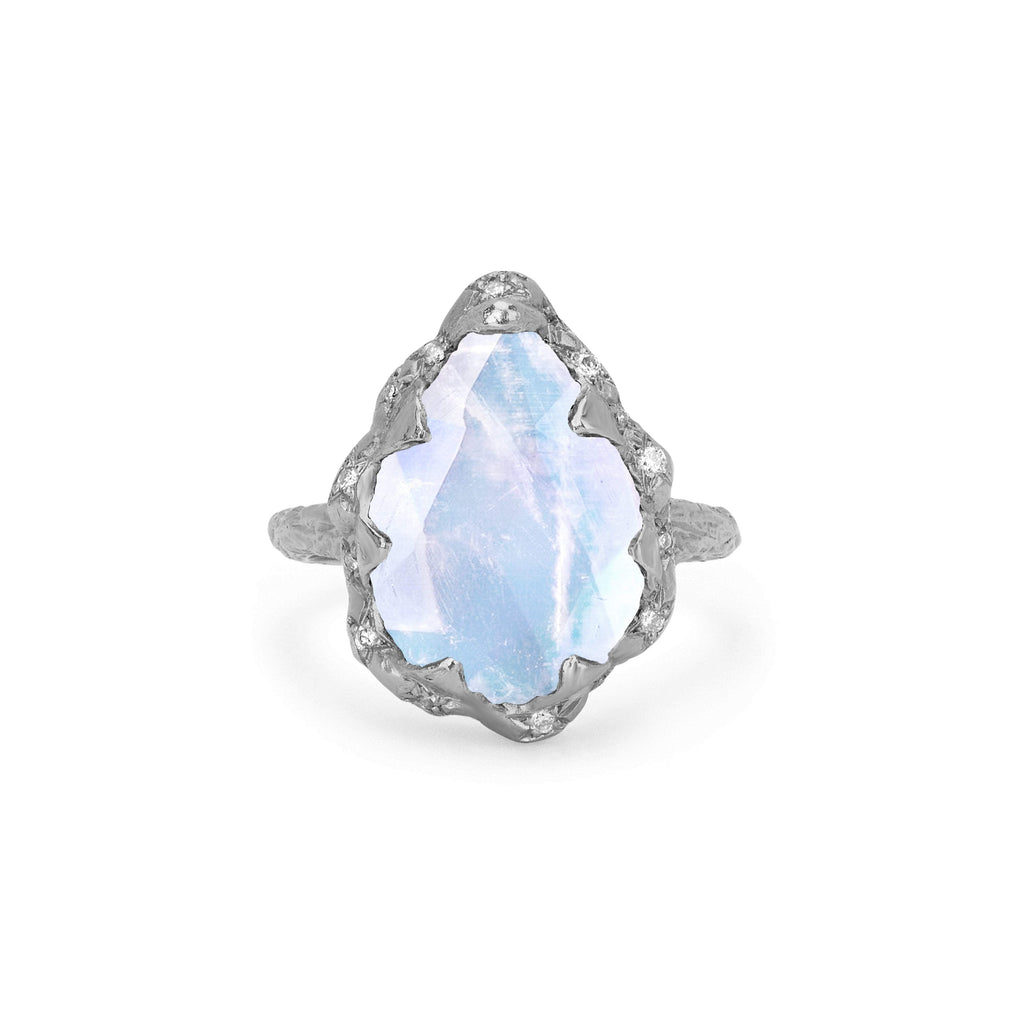 Queen Water Drop Moonstone Ring with Sprinkled Diamonds White Gold