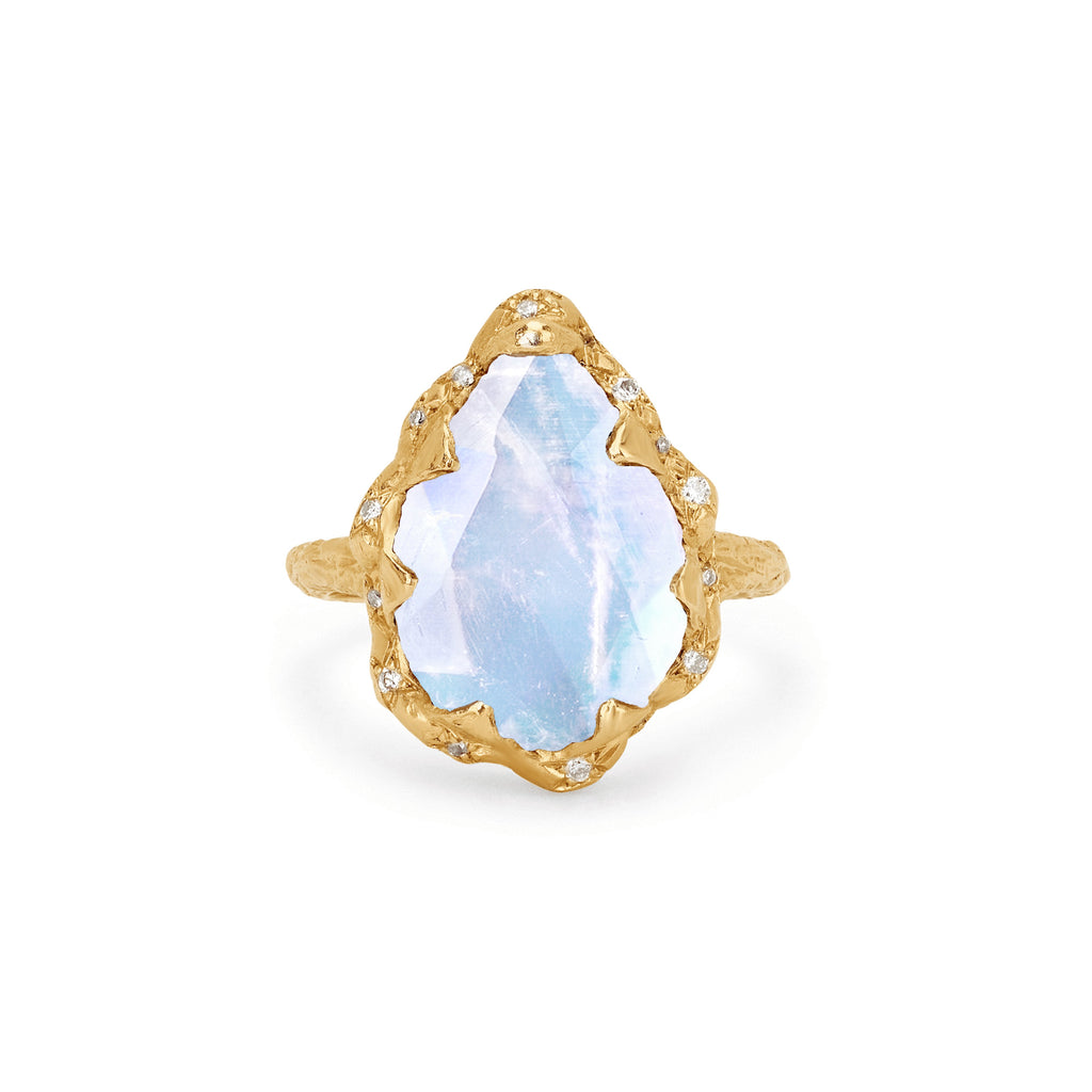 Queen Water Drop Moonstone Ring with Sprinkled Diamonds Yellow Gold