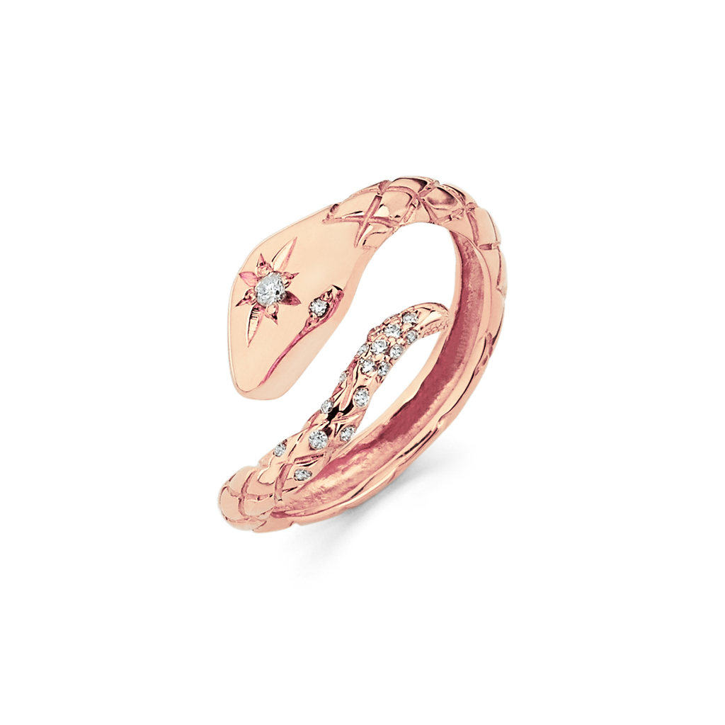 Kundalini Diamond Snake Ring Rose Gold