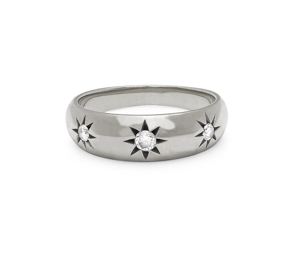 Star Set Rounded Ring Large White Gold