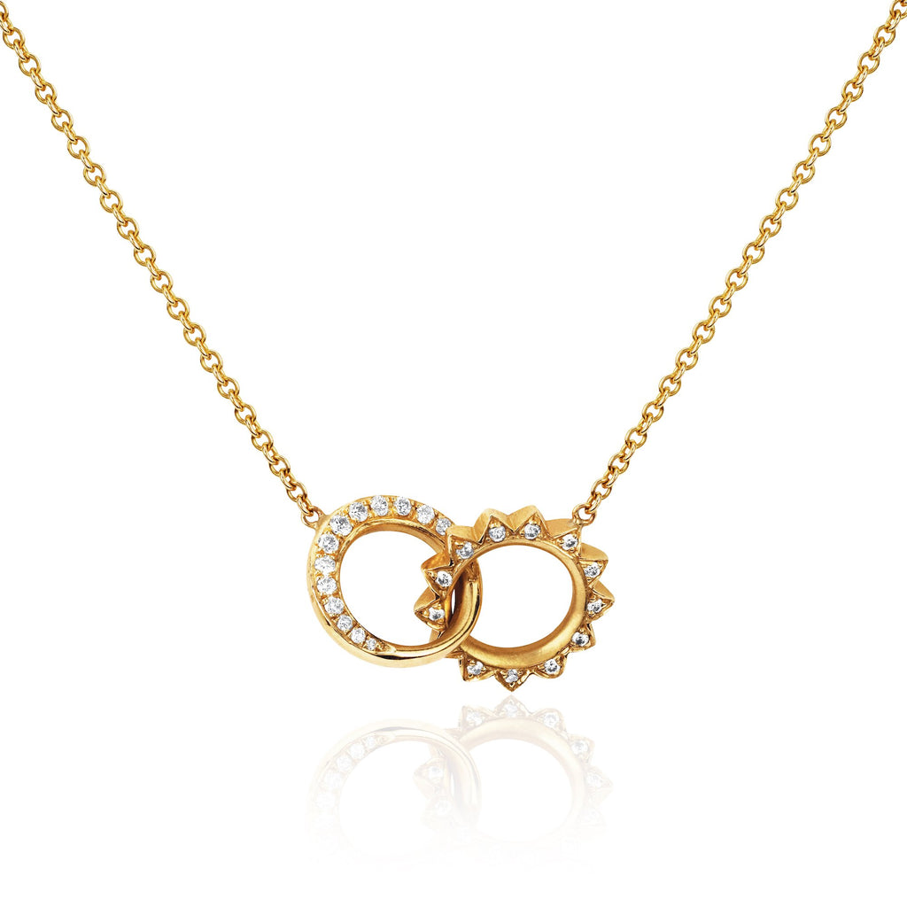 Pavé Diamond Interlocking Unity Necklace Yellow Gold