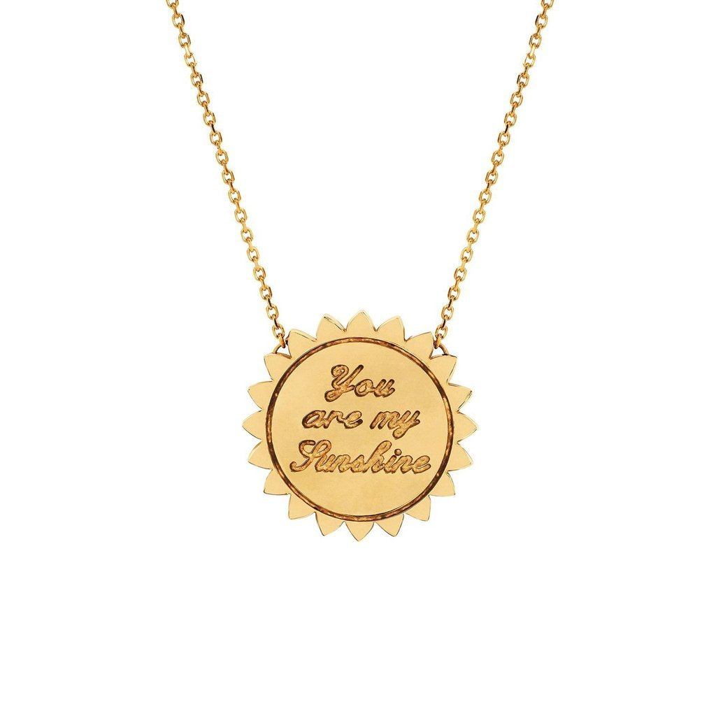 "Custom Classic ""You Are My Sunshine"" Four Initial Necklace with Star Set Diamond"