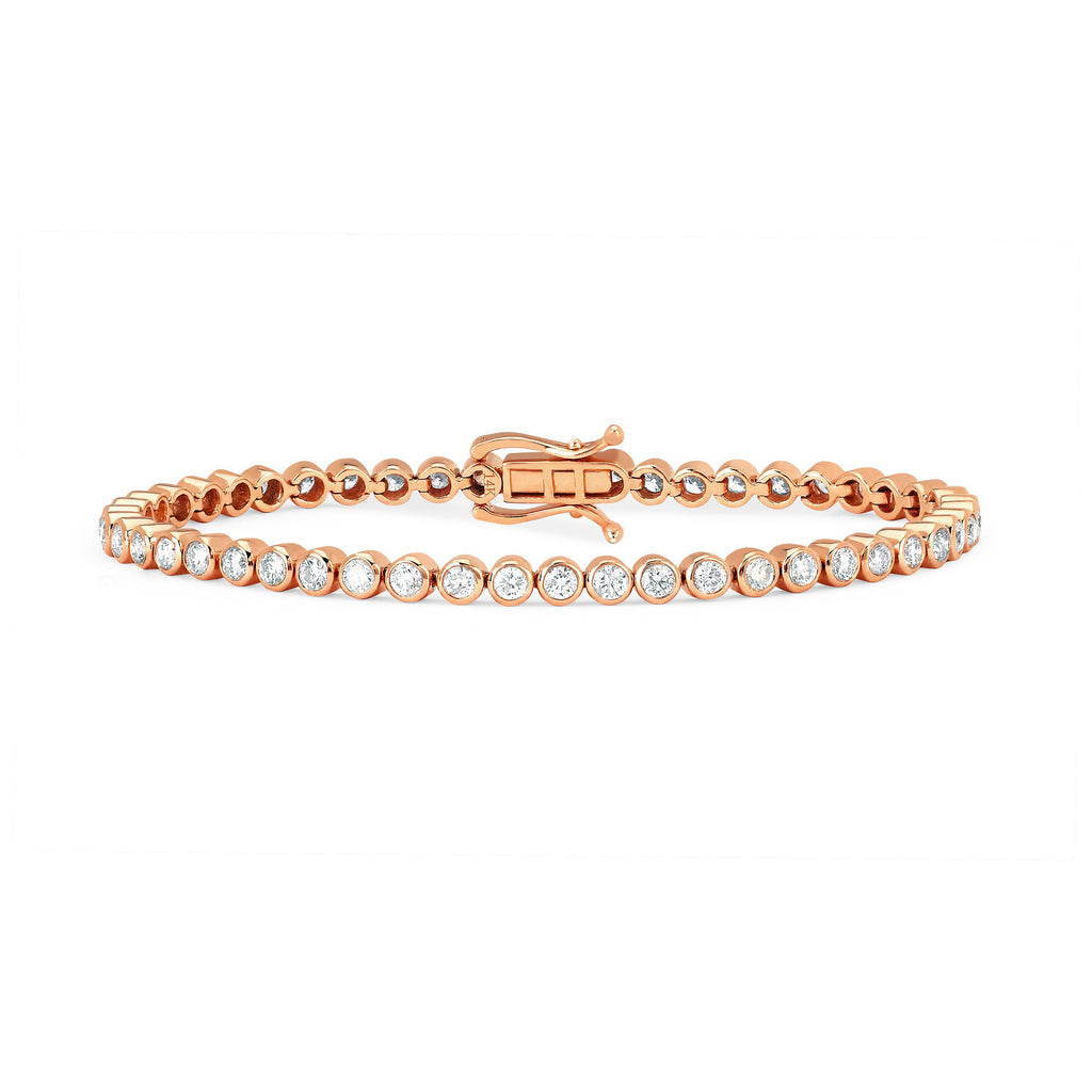 Infinity Orbit Diamond Tennis Bracelet Rose Gold
