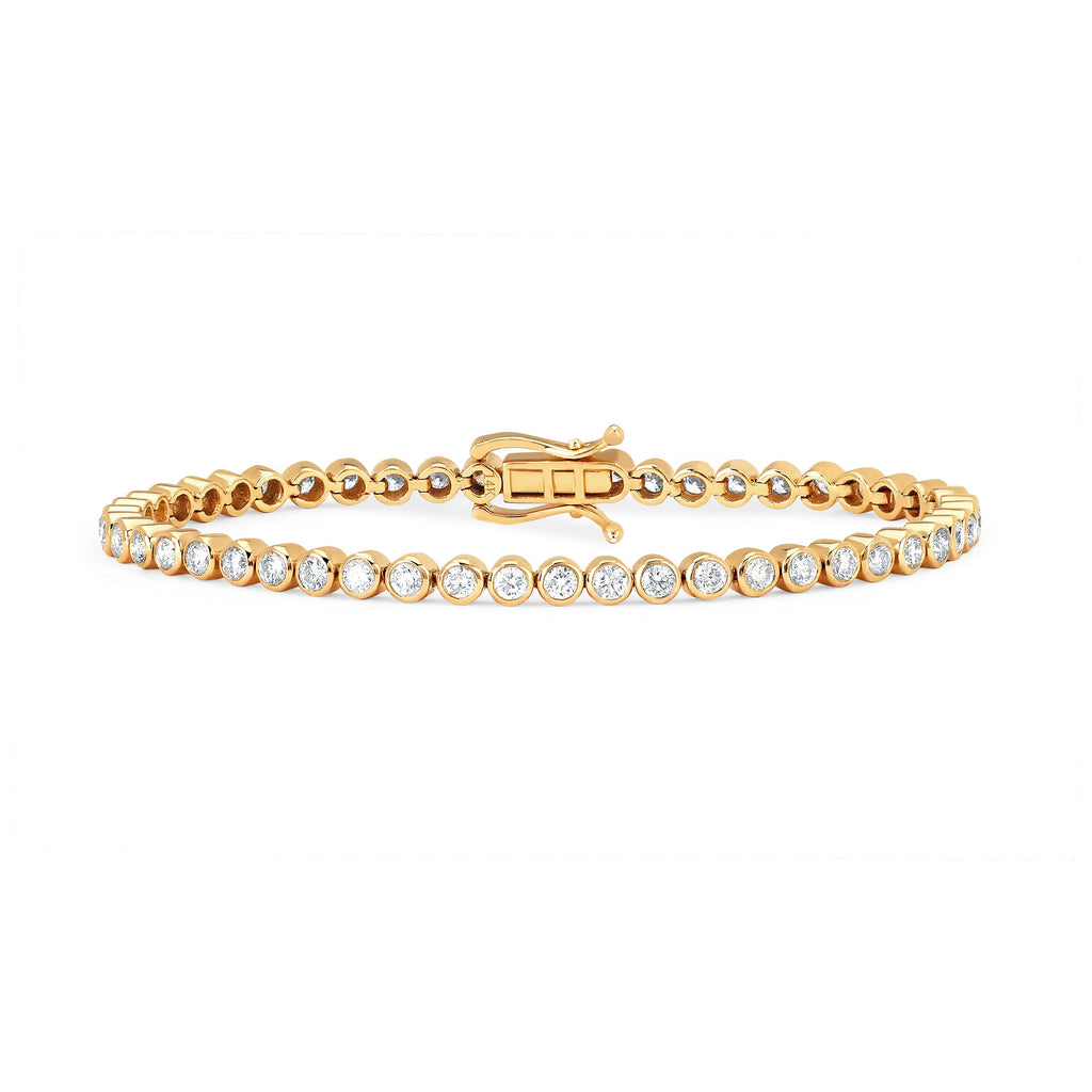 Infinity Orbit Diamond Tennis Bracelet Yellow Gold