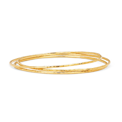 NEW! Wilderness Hammered Gold Bangle Set