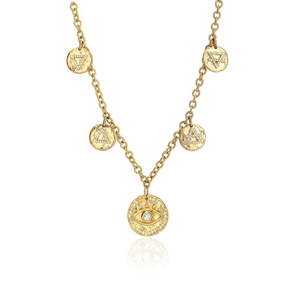 NEW! Earth's Elements Charm Necklace Yellow Gold