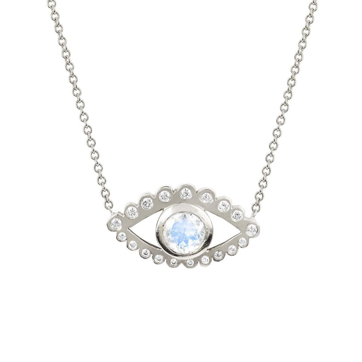 Third Eye Moonstone and Diamond Necklace