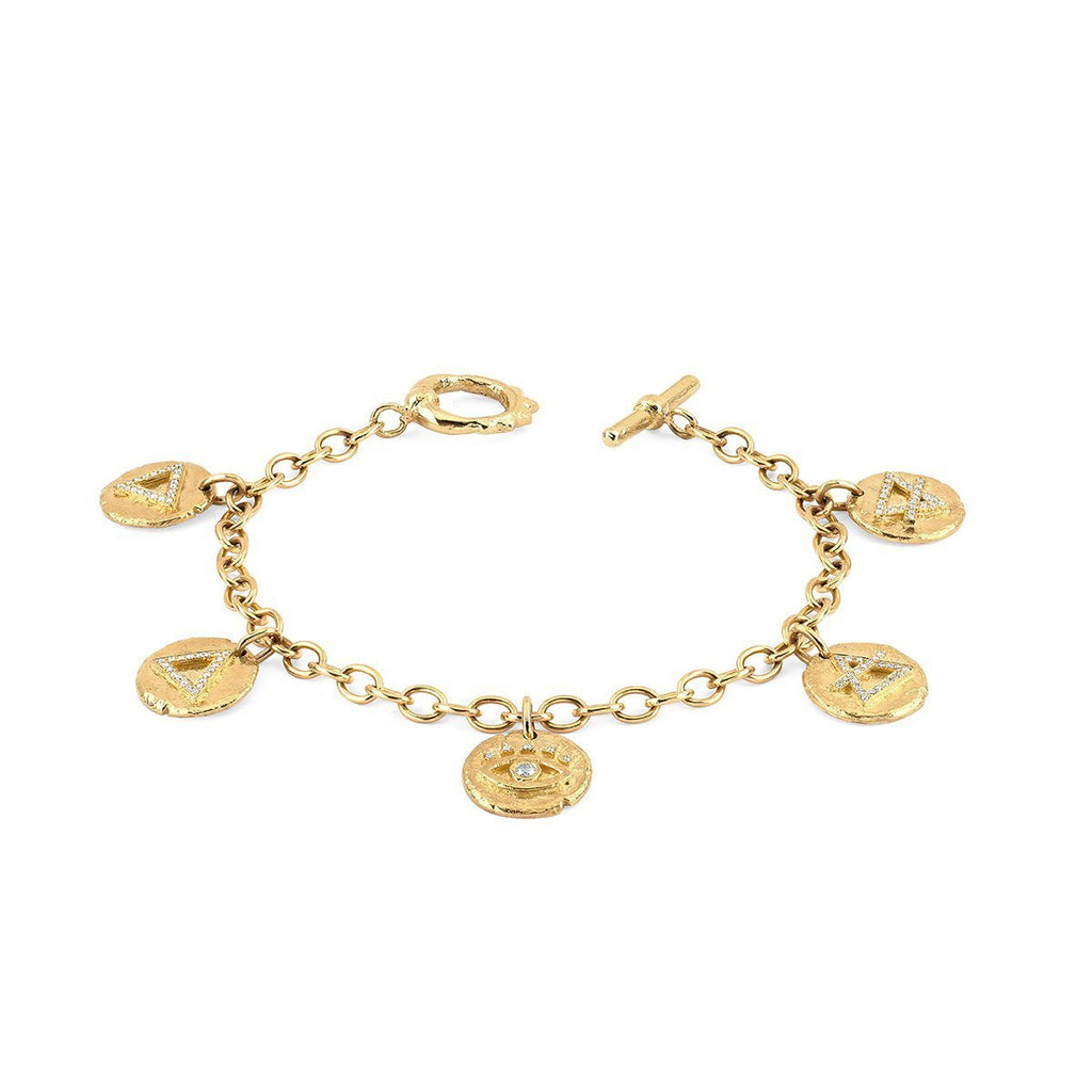 NEW! Alchemy Elements Charm Bracelet with Solid Unity Toggle Yellow Gold