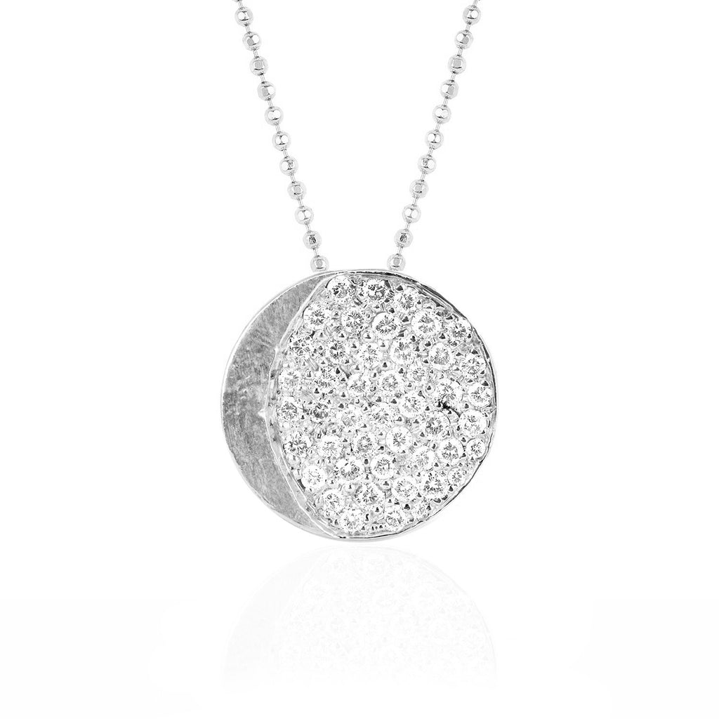 Waxing Gibbous Moon Phase Coin Necklace White Gold