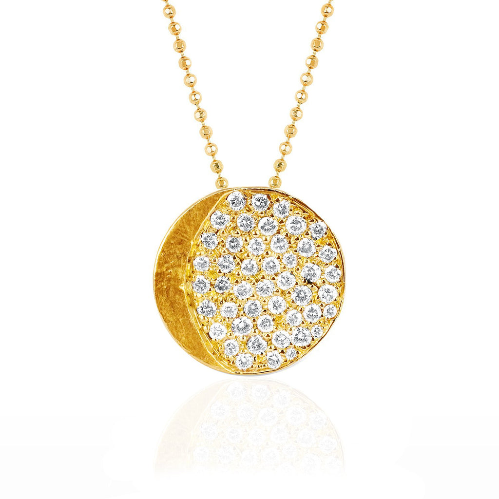 Waxing Gibbous Moon Phase Coin Necklace Yellow Gold