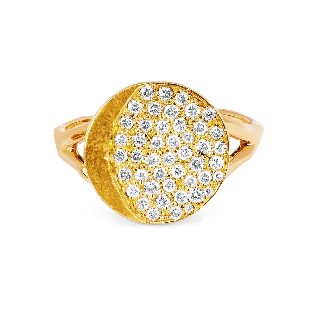 Waxing Gibbous Moon Phase Coin Ring Yellow Gold
