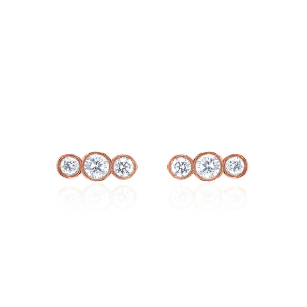 Tri-Star Studs Rose Gold