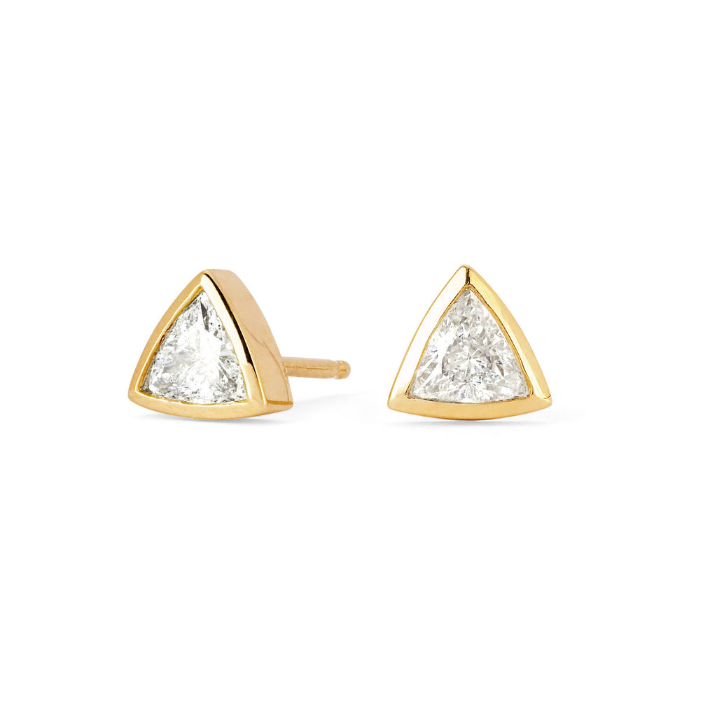 Mama Trillion Cut Stud Earring Yellow Gold