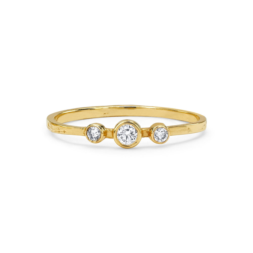 Three Diamond Orbit Bezel Stacking Ring Yellow Gold