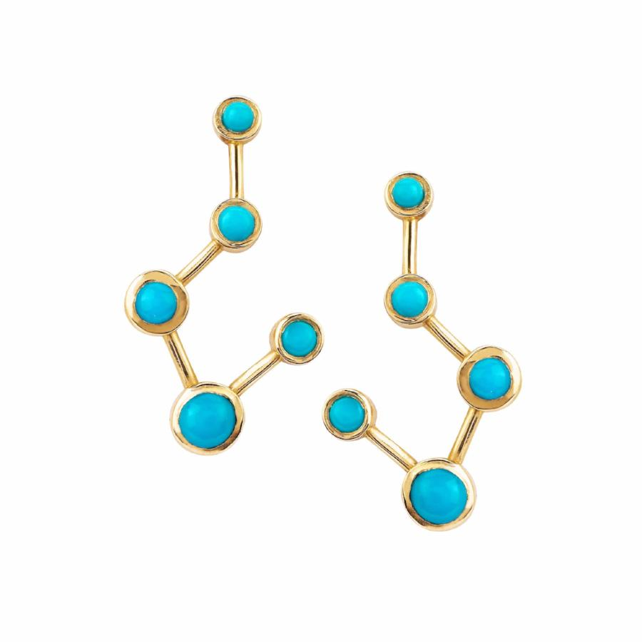 Big Dipper Turquoise Constellation Earrings Yellow Gold