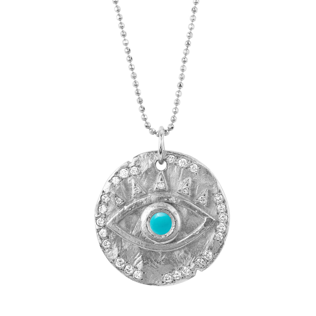 18k Turquoise Eye of Protection Coin Pendant White Gold