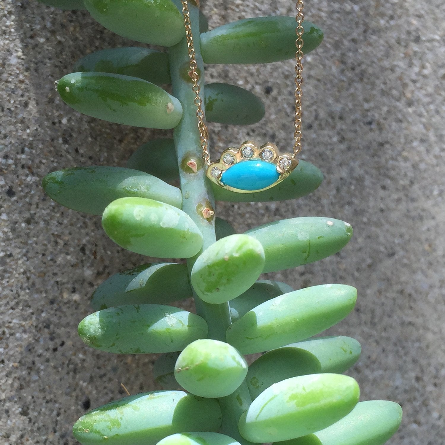 Turquoise Angel Eye and Diamond Necklace