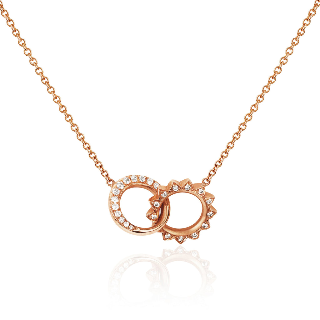 Pavé Diamond Interlocking Unity Necklace Rose Gold
