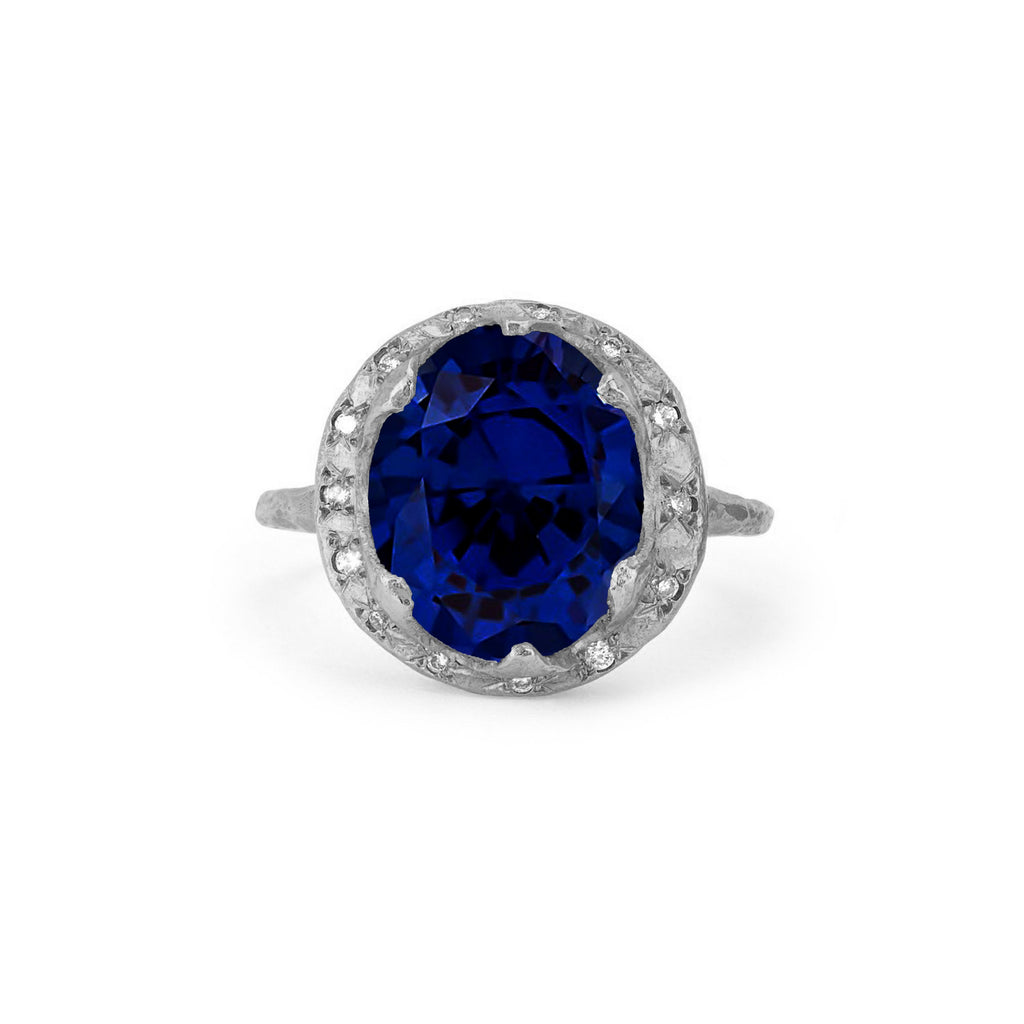 NEW! Queen Diamond and Oval Sapphire Ring with Sprinkled Diamonds White Gold