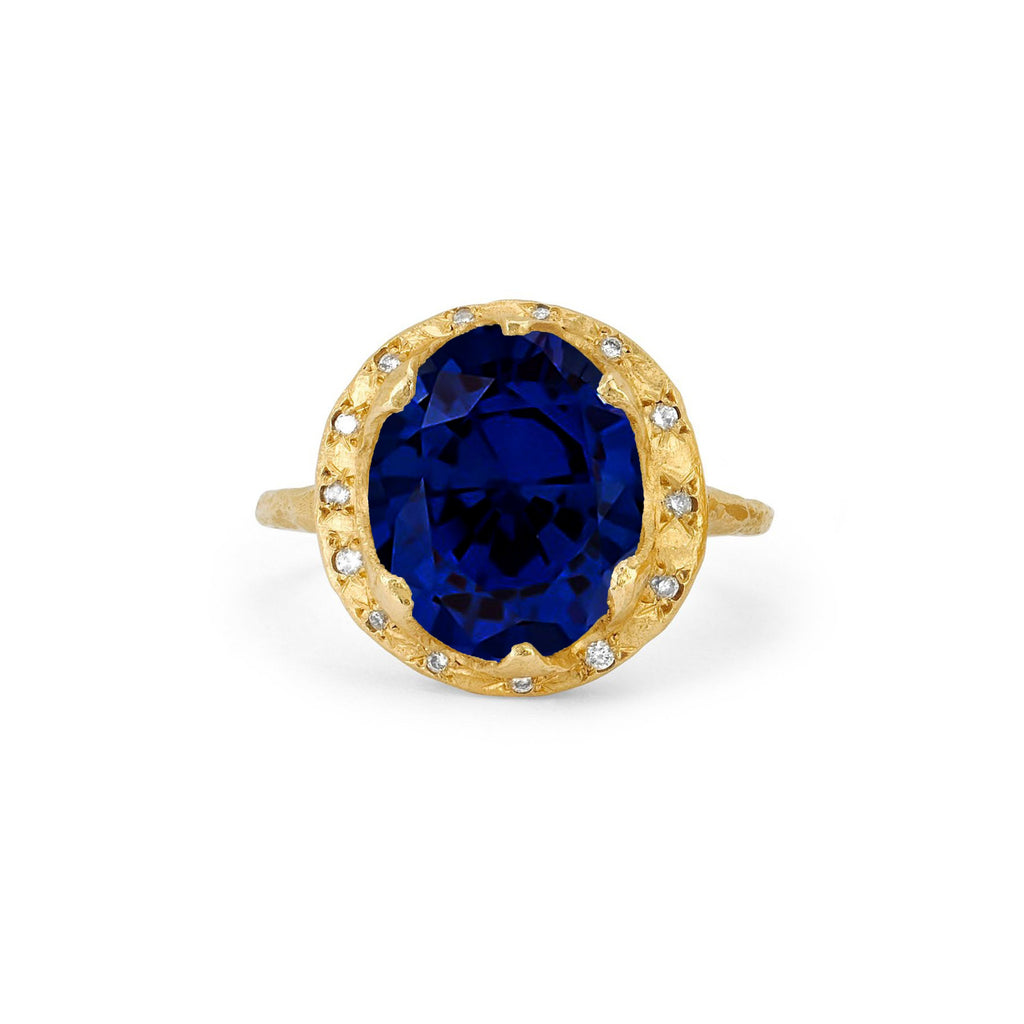 NEW! Queen Diamond and Oval Sapphire Ring with Sprinkled Diamonds Yellow Gold