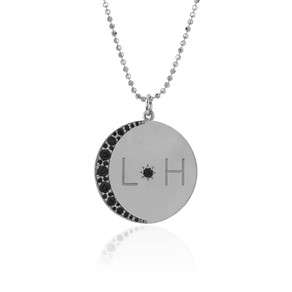 Love You To The Moon and Back Necklace with Black Diamonds on Ball Chain White Gold