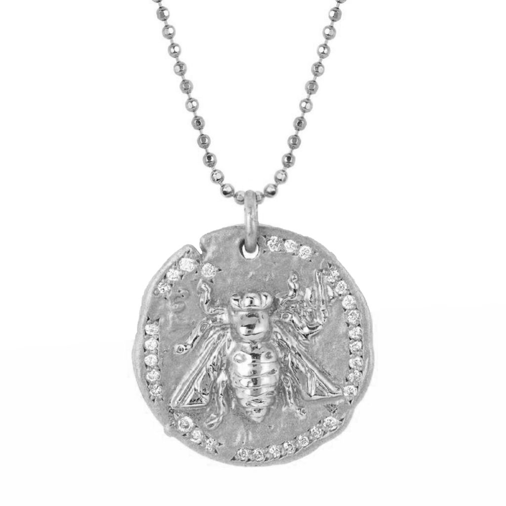 18k Sacred Honey Bee Coin Necklace White Gold