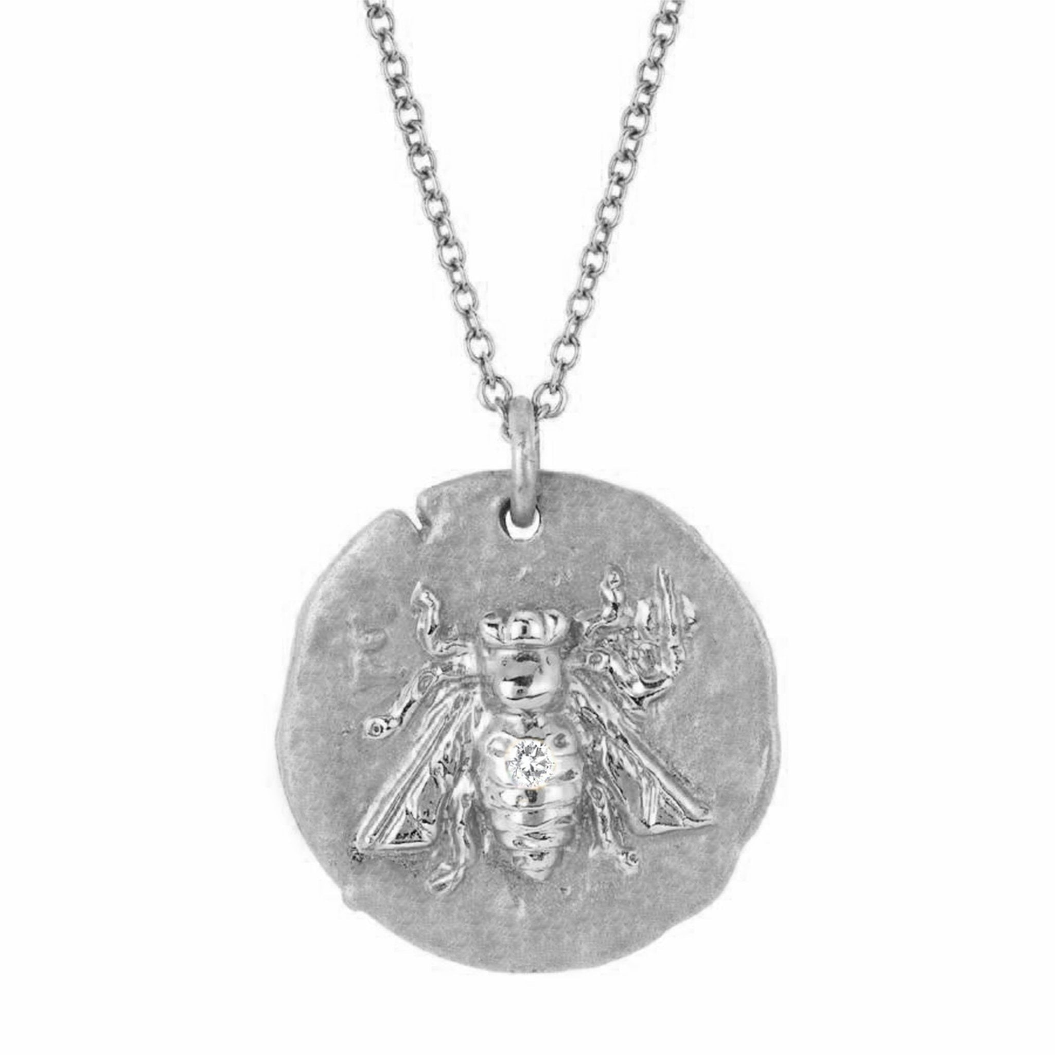 18k Sacred Honey Bee Coin Necklace with Single Diamond