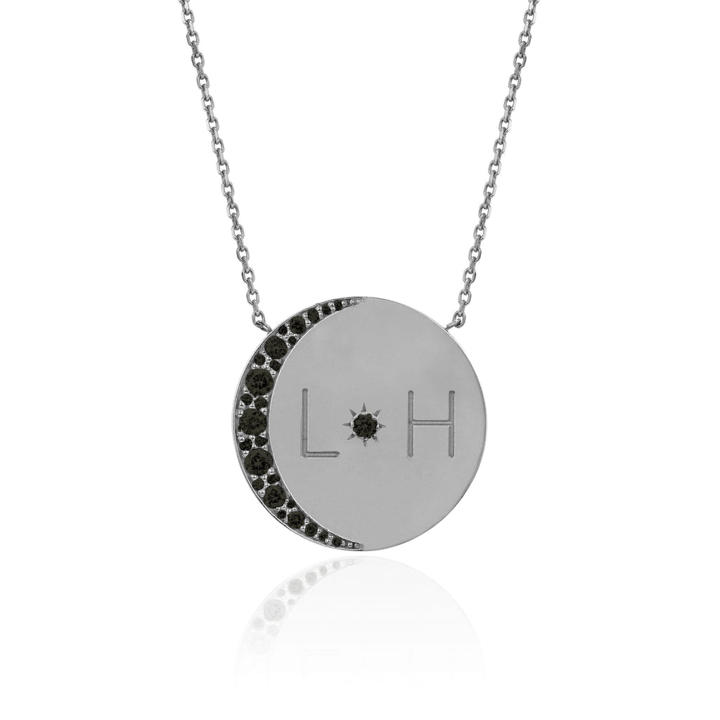 Love You To The Moon and Back Necklace with Black Diamonds White Gold