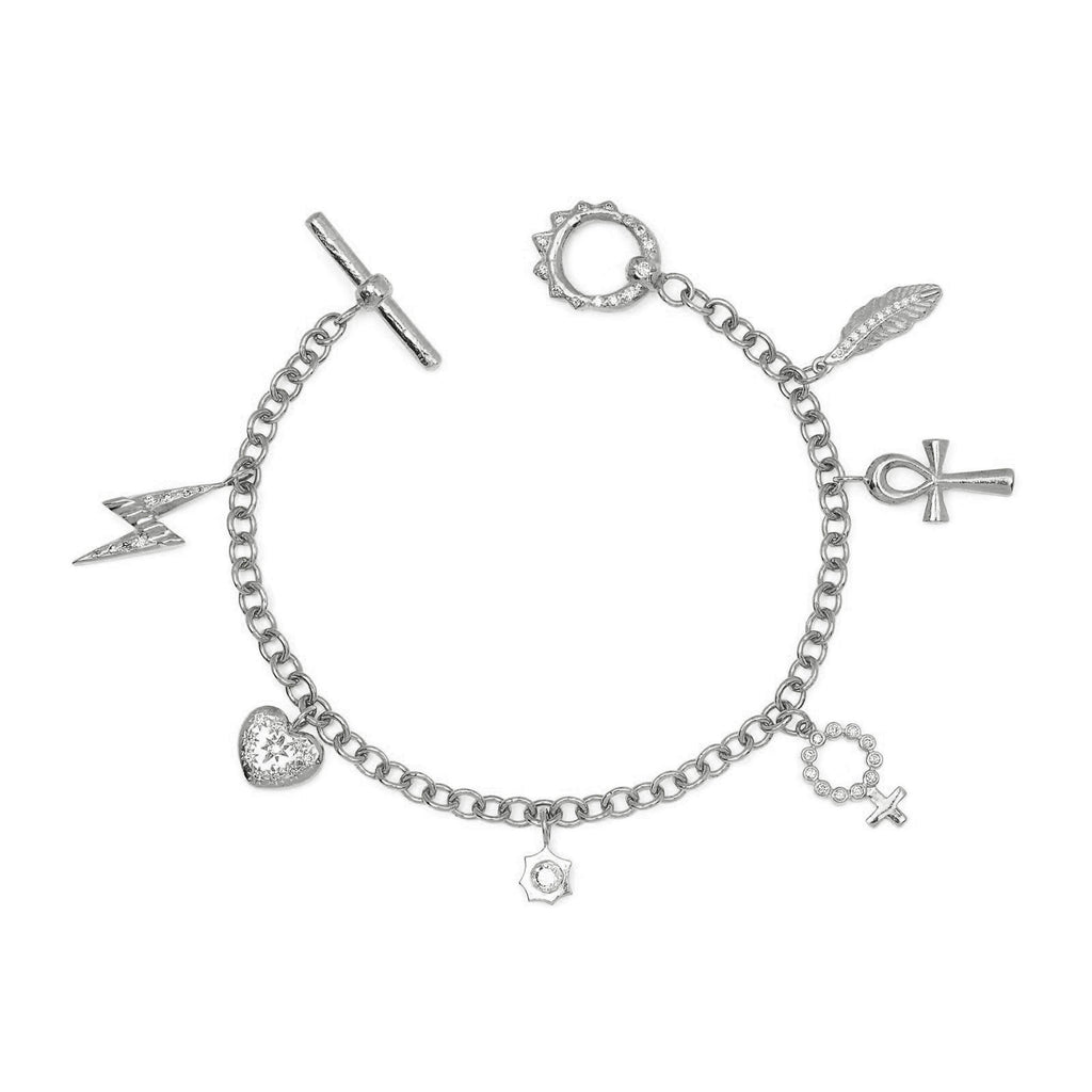 Alchemy Chain Bracelet with Diamond Unity Toggle White Gold